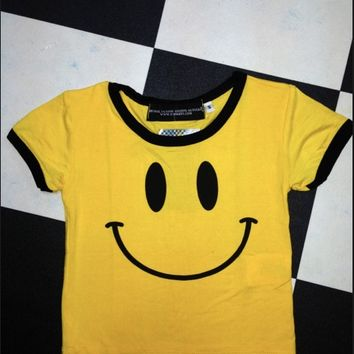 SWEET LORD O'MIGHTY! SMILEY RINGER CROP TEE