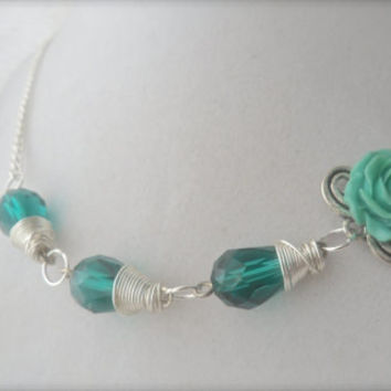 """Crystal Peacock Rose Necklace Wire wrapped Green Crystals Tear drops Silver chain 18"""" Rose Cabochon"""