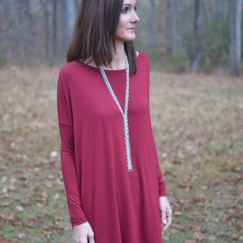PIKO Long Sleeve Tunic Top In Burgundy