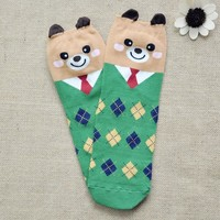 FunShop Woman's Mr Bear and Mr Panda Pattern Cotton Ankel Socks in 2 Colors D1117