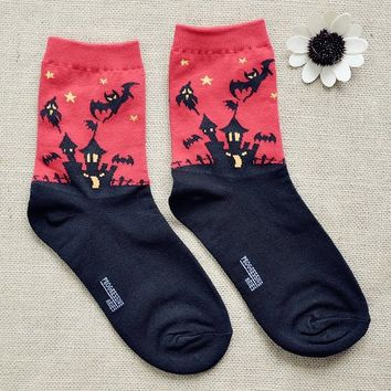FunShop Woman's Halloween Bats Pattern Cotton Ankel Socks in 2 Colors