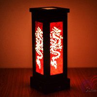 Thai Vintage MDFL Red Dragon Home Lighting Furniture Bedroom Decorate Mulberry Paper Lamp Handmade