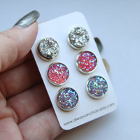 Faux Druzy Earring Set - Posts - Chunky Silver, Pink, Light Purple LARGE