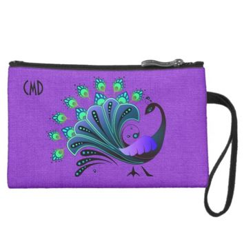 Pretty Abstract Blue Toned Peacock Mini Clutch