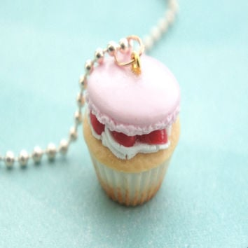 strawberry macaron cupcake necklace - default