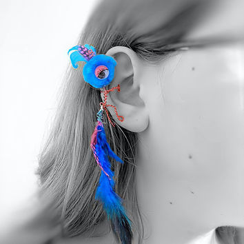 Ear Cuff - Monster, Critter, Creature, Cyclops, Feathers, Pompom, Wire Wrap, Turquoise, Pink - OOAK Jewelry