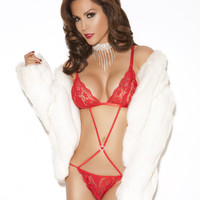 Red Lace Teddy - Small/Medium