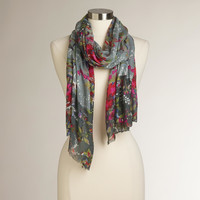 Floral with Gray  Border Scarf - World Market