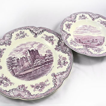 Flat Soup Bowl - Johnson Bros - Old Britain Castles - Lavender - Purple
