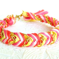Pink Berry Lemonade - Neon Lemon, Raspberry, Peachy Pink, & Neon Coral - Chevron Braided Modern Friendship Bracelet - Gold Chain