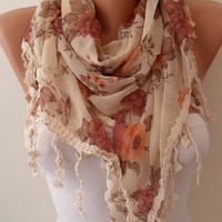Vintage Style - Linen Scarf with Beige Trim Edge --