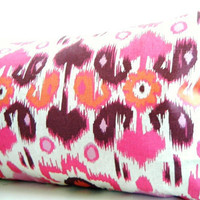 Pink Bolster Pillows, Pink Ikat Pillows, Pink and Orange Bolsters, Long Lumbar Pillows in Pink, Orange, and Cream