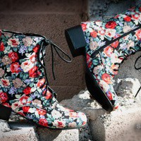 Bumper Moda-01 Black Floral Print Military Lace Up Ankle Boot - Shoes 4 U Las Vegas