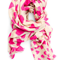 Whimsy Hearts Wool-Silk Scarf