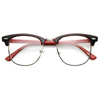 Retro Two Tone Colorful Clear Lens Half Frame Horned Rim Glasses 9184 - Black