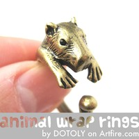 Large Capybara Wombat Animal Wrap Around Hug Ring in Brass - Size 4 to 10 Available -