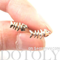 Small Fishbone Fish Skeleton Shaped Stud Earrings in Gold
