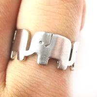Simple Elephant Family Parade Animal Ring in Silver - US Size 6 to 8 Available -