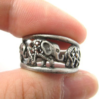 Elephant Animal Family Parade Ring in Silver | Animal Jewelry -
