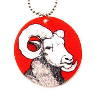 Ram Sheep Animal Hand Drawn Pendant Necklace | Handmade Shrink Plastic - Ram Sheep Pendant Necklace