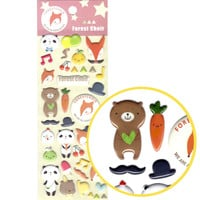 Panda Teddy Bear and Foxes Shaped Animal Puffy Stickers for Scrapbooking - Foxes and Teddy Bears Shaped Puffy Sticker Set
