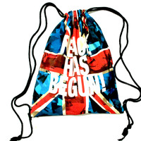 British Flag Peace Has Begun Typography Print Drawstring Cinch Backpack Bag for Women | DOTOLY - British Flag Drawstring Bag