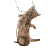 Realistic Grey Kitty Cat Stretching on Hind Legs Shaped Pendant Necklace | Handmade | Animals in Awkward Poses - Grey Kitty Cat Shaped Pendant Necklace