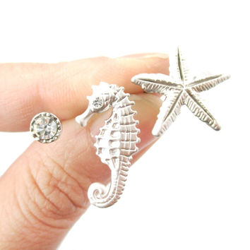 Seahorse Starfish and Rhinestone Shaped Allergy Free Stud Earrings in Silver | Animal Jewelry - Starfish Seahorse and Rhinestone Stud Earrings in Silver