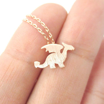Classic Dragon Silhouette Shaped Pendant Necklace in Rose Gold | Animal Jewelry - Dragon Silhouette Charm Necklace in Rose Gold