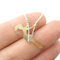 Girl Swinging on a Swing Acrobat Charm Necklace in Silver and Gold | DOTOLY - Swing Girl Charm Necklace in Silver and Gold