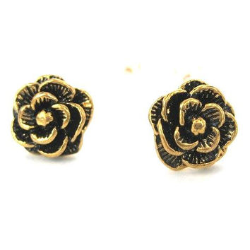 Large Floral Rose Textured Stud Earrings in Bronze | DOTOLY - Rose Floral Earrings