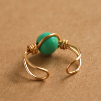 Turquoise Ear Cuff Gold Tone Wire Wrapped Ear Cuff