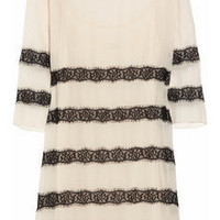 By Malene Birger|Chantelle silk-crepe and lace dress|NET-A-PORTER.COM