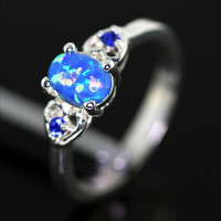 Sterling Silver and Blue Fire Opal Double Heart Ring - Blue Fire Opal /