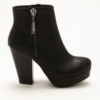 Black Side Zipper Booties