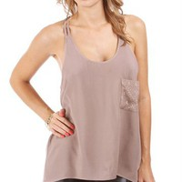 Mocha Double Strap Tank