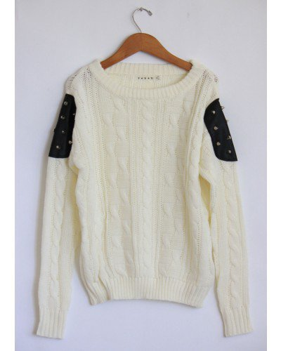 Studded Patch Knit White Sweater