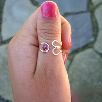 Silver Plated Adjustable Ring With .. on Luulla
