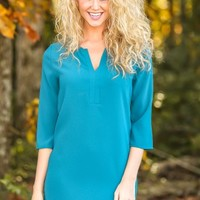 EVERLY:Pretty & Professional Dress-Teal