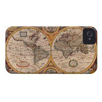 Renaissance World Map Iphone 4 Cases from Zazzle.com