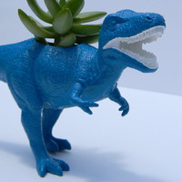 Dinosaur Planter TREX Deep Ocean Blue with by crazycouture on Etsy