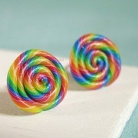 Rainbow Lollipop  Earrings  Candy Collection by PetitPlat on Etsy