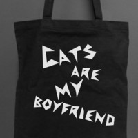 Cats are my Boyfriend TOTE BAG black - cat lovers
