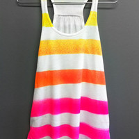 women teen Summer beach romper tank top racerback hot pink yellow orange bikini coverup clothing