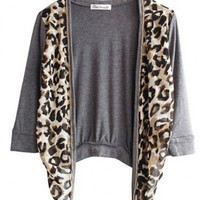 Chiffon, Cotton Gray Long Sleeve Leopard Chiffon Splicing Cotton Short Coat  style cy822008