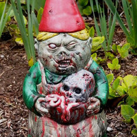 Zombie Garden Gnome, &quot;Mrs. Dead&quot; Cast Concrete, IN STOCK, ships right away.