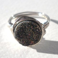 925 Sterling Silver Druzy Quartz Agate Ring Size 6