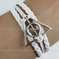 jewelry bracelet deathly hallows bracelet silver deathly hallows charm rope bracelet ,Harry potter