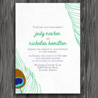 Printable Wedding Invitation - Purple and Green Peacock Feathers