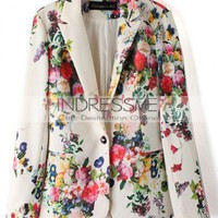Blends Flower Print Long Sleeve Lapel One-Button Design Blazer  style 819zz016